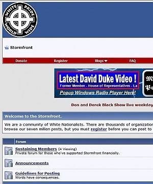 Homepage di Stormfront