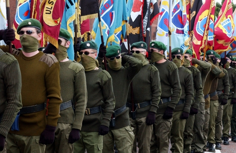 British terrorists of the UDA-UFF on parade in the north-east of Ireland.