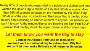 Volantino DUP-UUP contro Alliance Party