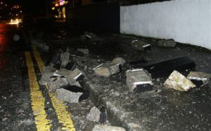 Bricks on the ground after rioting on Friday night at Carnmoney Road, Glengormley. © Pacemaker