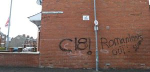 Slogan razzisti sul muro tra Elmdale Street e Bately Street | Racist graffiti appeared on gable walls near Chobham Street and at a junction of Elmdale Street and Bately Street.